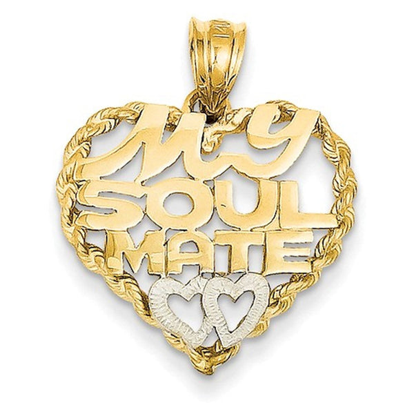 14k Gold Two Tone Heart My Soul Mate Pendant Charm