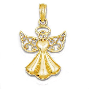 14k Yellow Gold Angel Open Back Pendant Charm