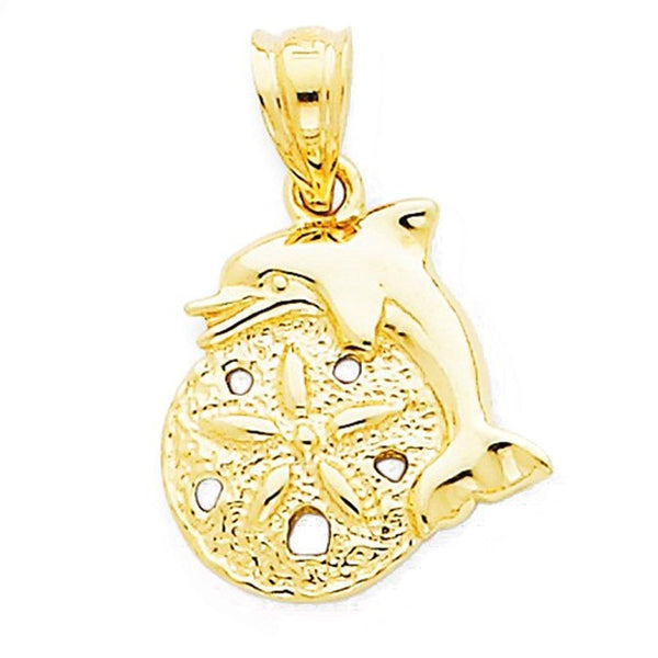 14k Yellow Gold Small Sand Dollar Dolphin Pendant Charm