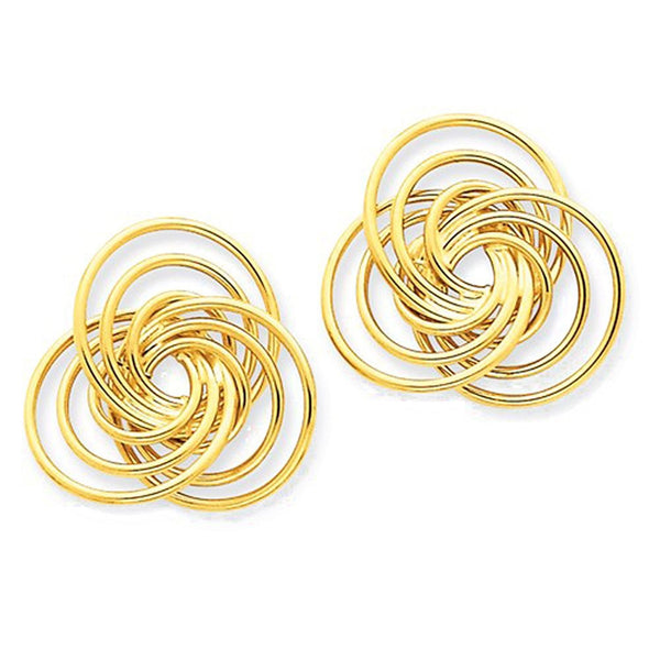 14k Yellow Gold Flower Love Knot Stud Post Earrings