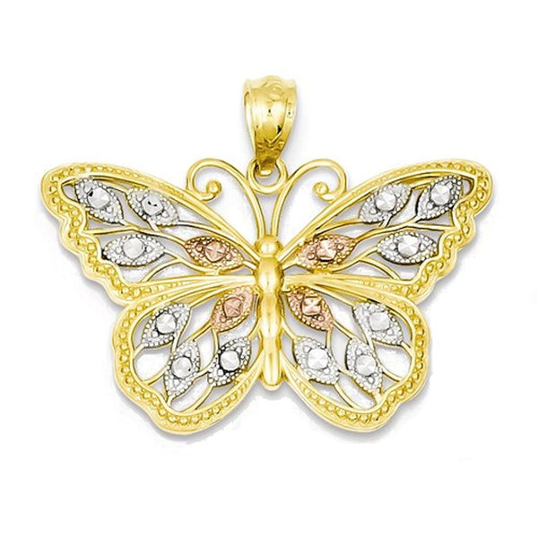 14k Yellow Gold Rhodium Butterfly Open Back Pendant Charm