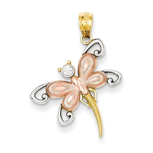 14k Gold Two Tone and Rhodium Dragonfly Pendant Charm