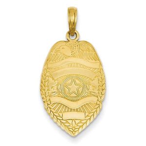14k Yellow Gold Police Badge Pendant Charm