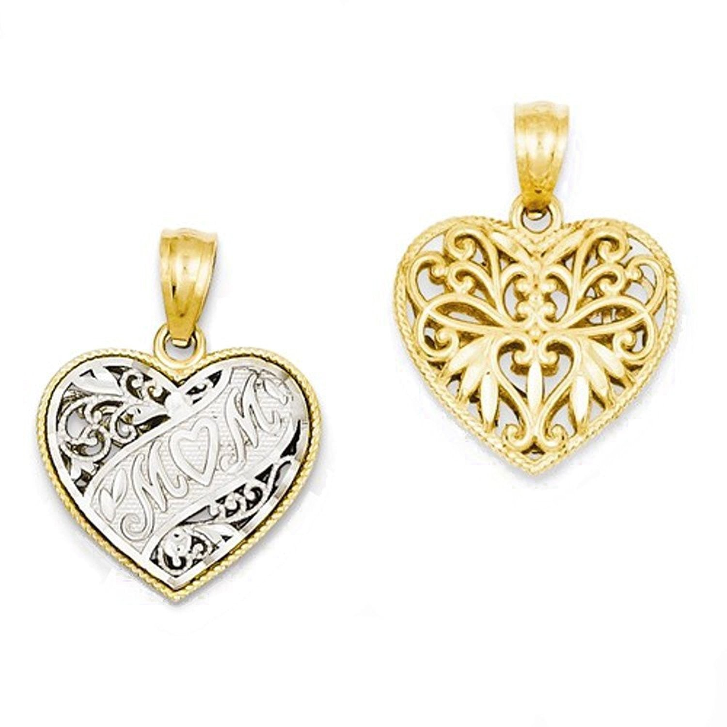 14k Gold Two Tone Mom Heart Reversible Pendant Charm