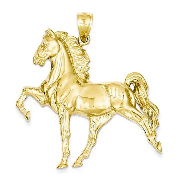 14k Yellow Gold Large Horse Open Back Pendant Charm