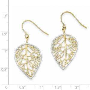 14k Yellow Gold Rhodium Leaf Drop Shepherd Hook Dangle Earrings