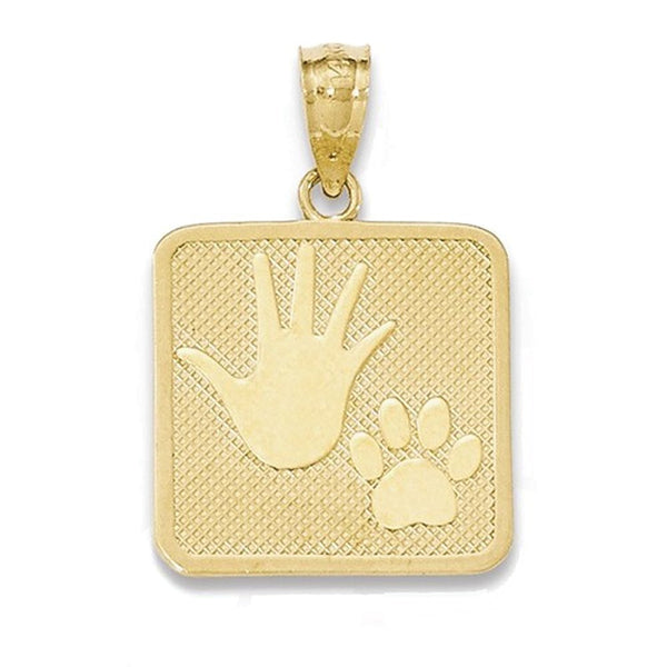 14k Yellow Gold Hand Paw Print Puppy Me Pendant Charm