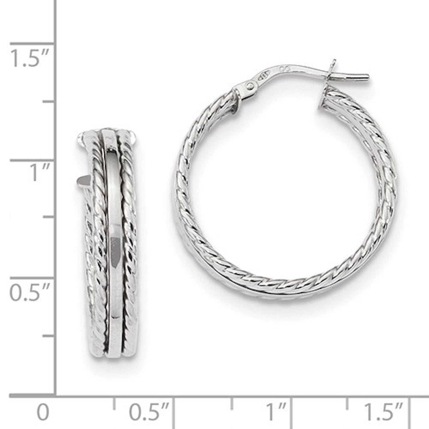 14K White Gold 23mmx4.5mm Textured Modern Contemporary Round Hoop Earrings