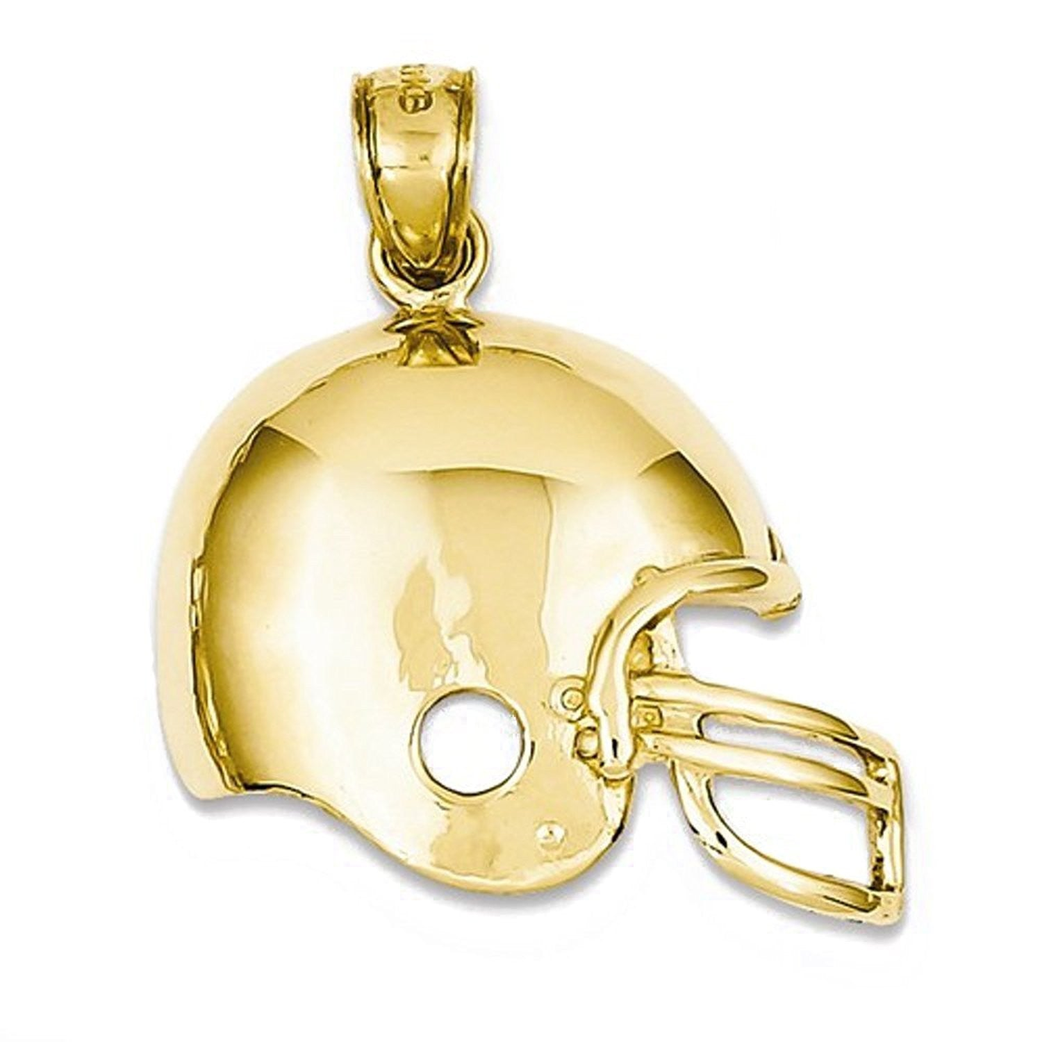 14k Yellow Gold Football Helmet Open Back Pendant Charm