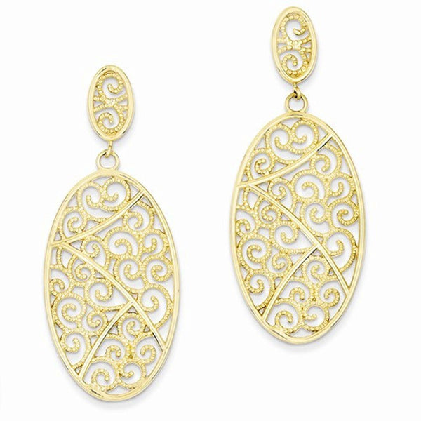 14k Yellow Gold Filigree Oval Festive Dangle Post Earrings