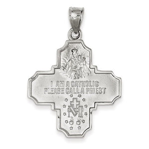 14k White Gold Cross Cruciform Four Way Medal Pendant Charm