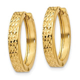 14k Yellow Gold Classic Textured Hinged Hoop Huggie Earrings