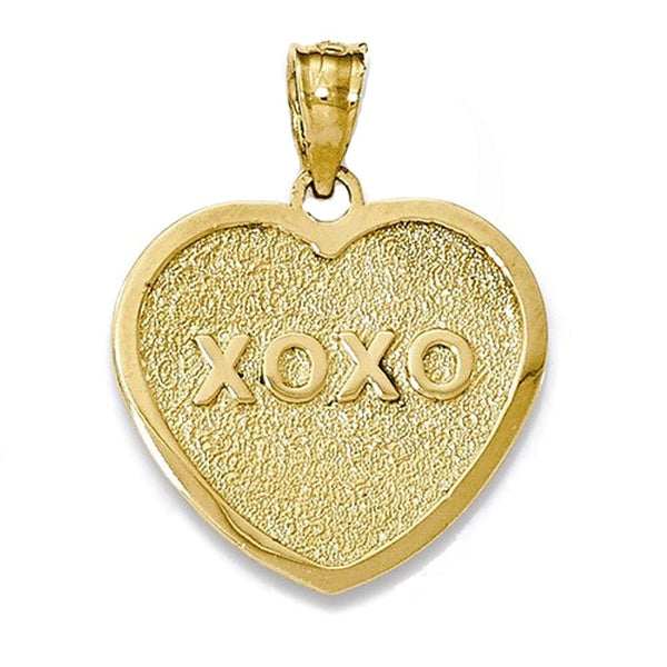 14k Yellow Gold My Love XOXO Heart Reversible Pendant Charm
