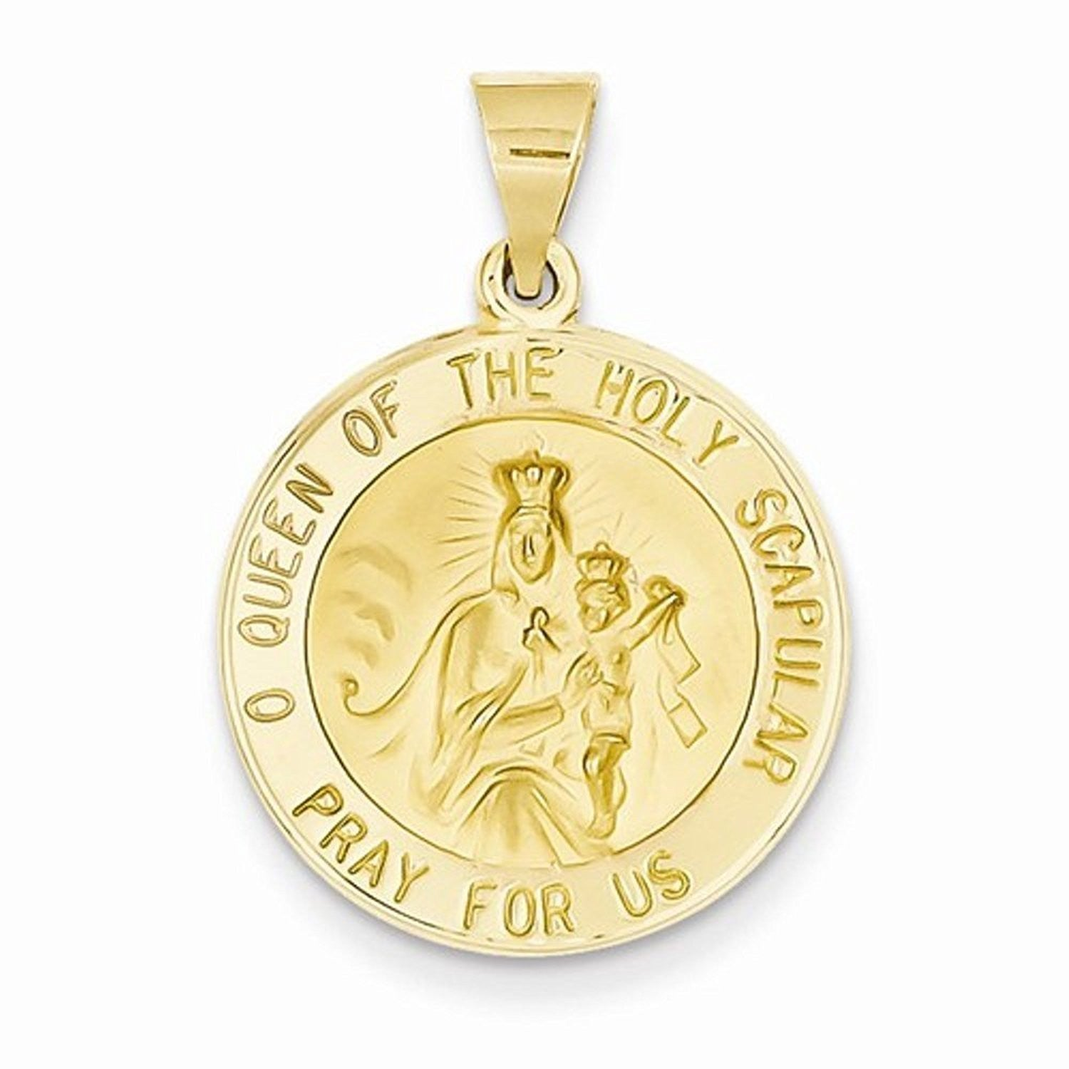 14k Yellow Gold Queen of Holy Scapular Hollow Pendant Charm