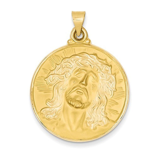 14k Yellow Gold Jesus Face Medal Hollow Pendant Charm