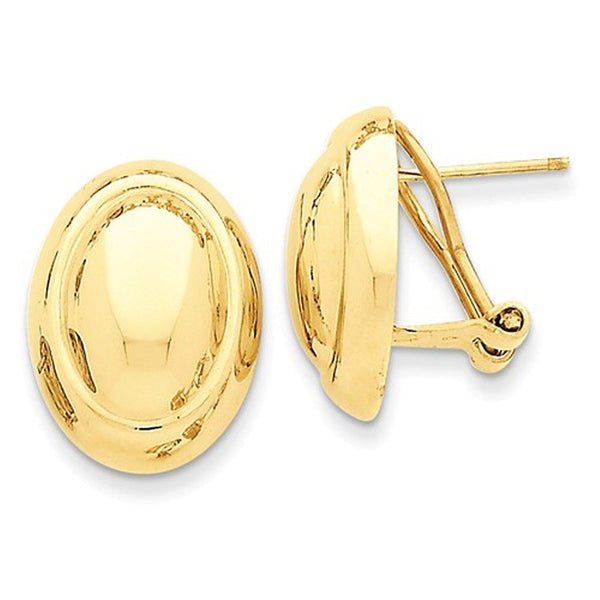 14k Yellow Gold Polished Oval Button Omega Clip Back Earrings