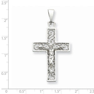 14k White Gold Cross Crucifix Large Pendant Charm