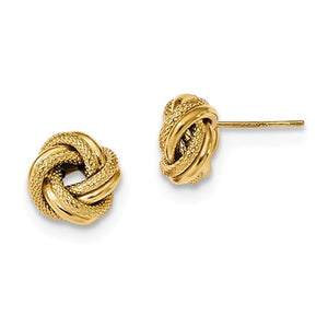 14k Yellow Gold 10mm Classic Love Knot Stud Post Earrings