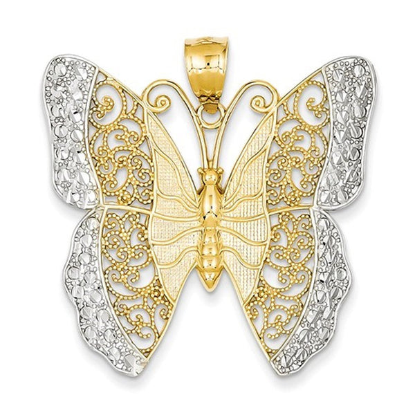 14k Yellow Gold Rhodium Butterfly Filigree Pendant Charm