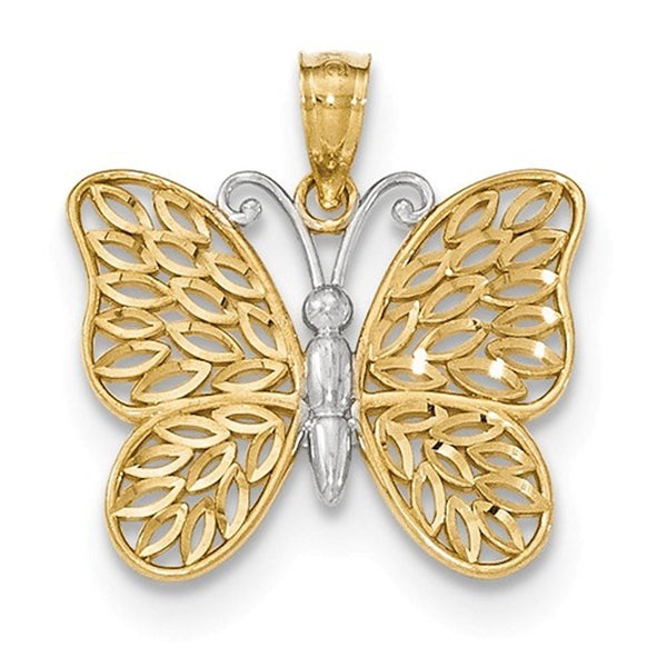 14k Gold Two Tone Butterfly Pendant Charm