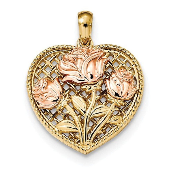 14k Two Tone Gold Roses and Heart Pendant Charm