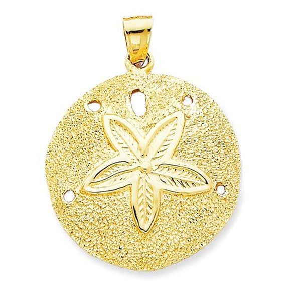 14k Yellow Gold Large Sand Dollar Pendant Charm