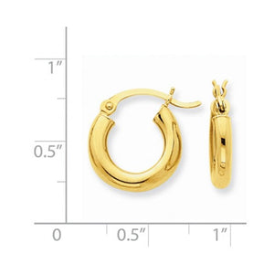 14K Yellow Gold 13mm x 3mm Classic Round Hoop Earrings