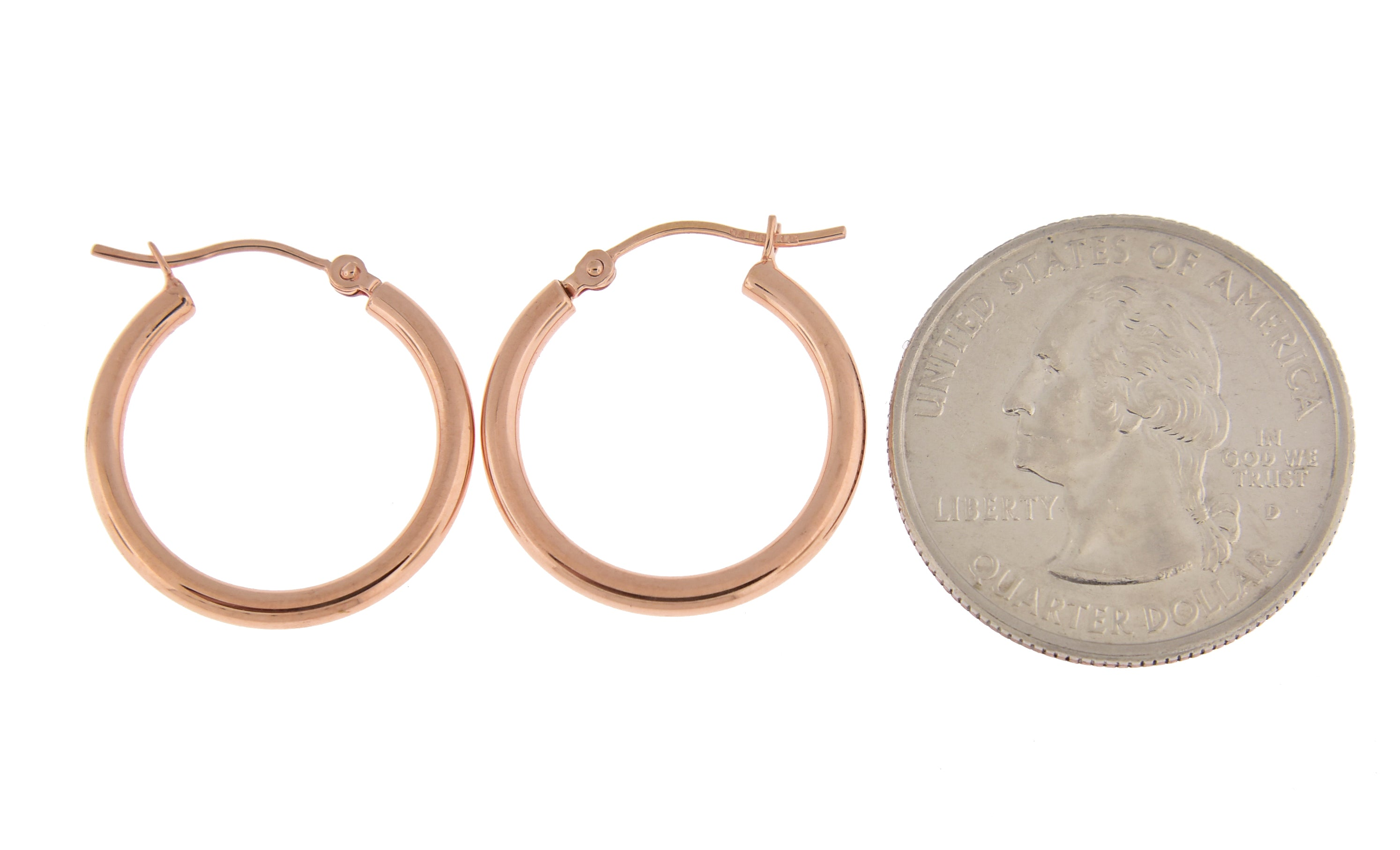 14K Rose Gold 20mm x 2mm Classic Round Hoop Earrings