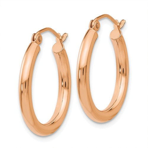 14K Rose Gold 20mm x 2.5mm Classic Round Hoop Earrings