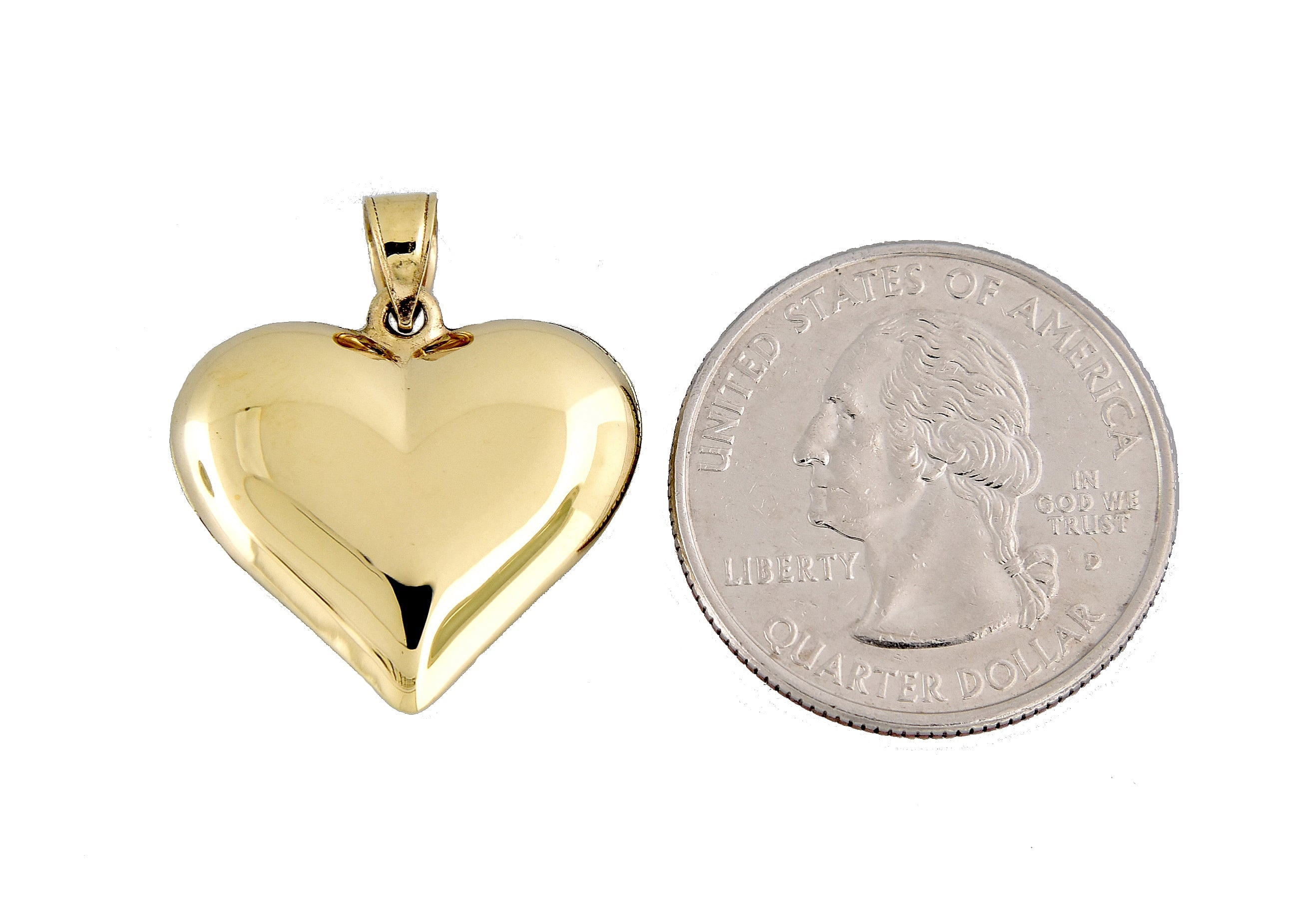 14k Yellow Gold Puffy Heart 3D Hollow Pendant Charm