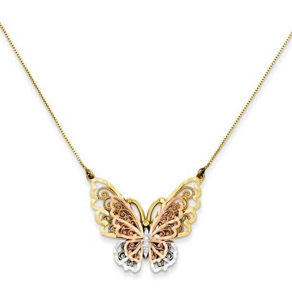 14k Gold Tri Color Butterfly Necklace 18 inches