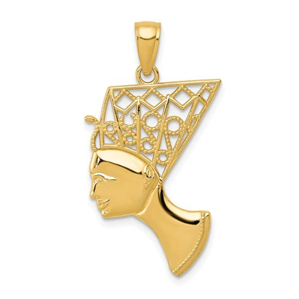 14k Yellow Gold Egyptian Nefertiti Pendant Charm