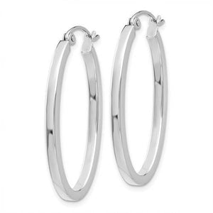 14k White Gold 30mm x 17mm x 2mm Oval Hoop Earrings
