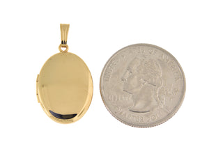 14k Yellow Gold Plain Oval Locket Pendant Charm