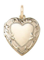 Load image into Gallery viewer, 14k Yellow Gold Embossed Heart Locket Pendant Charm
