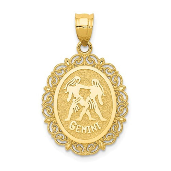 14k Yellow Gold Gemini Zodiac Horoscope Oval Pendant Charm