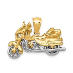 14k Gold Two Tone Motorcycle 3D Moveable Pendant Charm