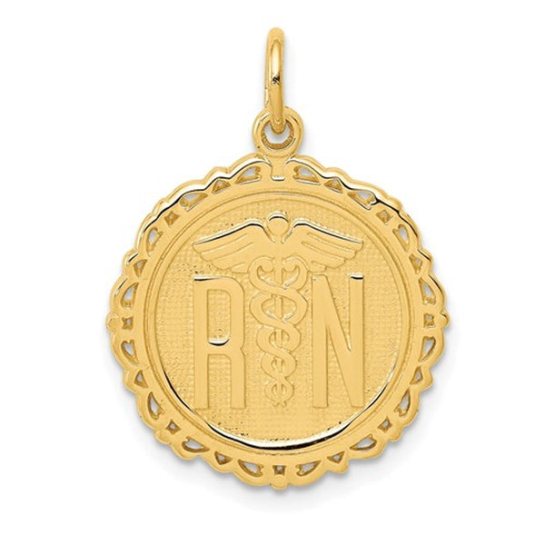 14k Yellow Gold RN Nurse Pendant Charm