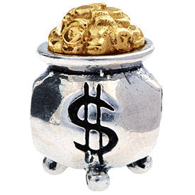 Authentic Silverado Pot of Gold Sterling Silver 14k Gold Bead Charm