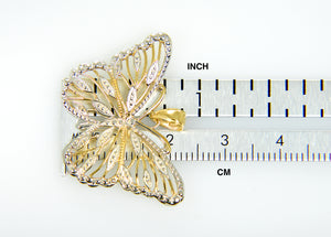 14k Yellow Gold and Rhodium Butterfly Pendant Charm