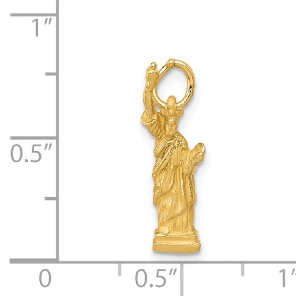 14k Yellow Gold New York Statue Liberty 3D Pendant Charm