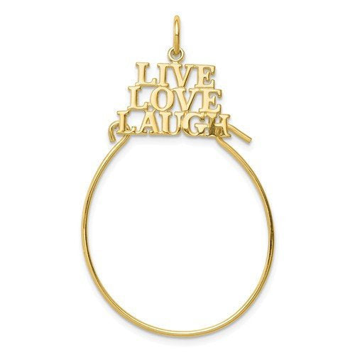 10K Yellow Gold Live Love Laugh Charm Holder Pendant