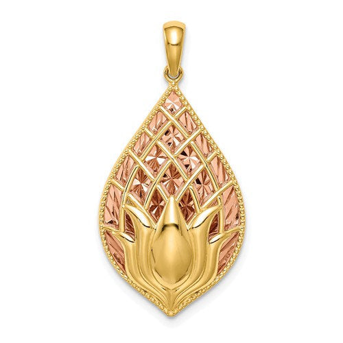 14k Yellow Rose Gold Two Tone Lotus Flower Pendant Charm