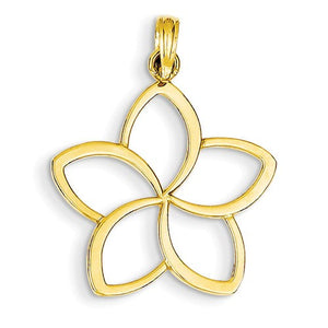 14k Yellow Gold Flower Cut Out Pendant Charm