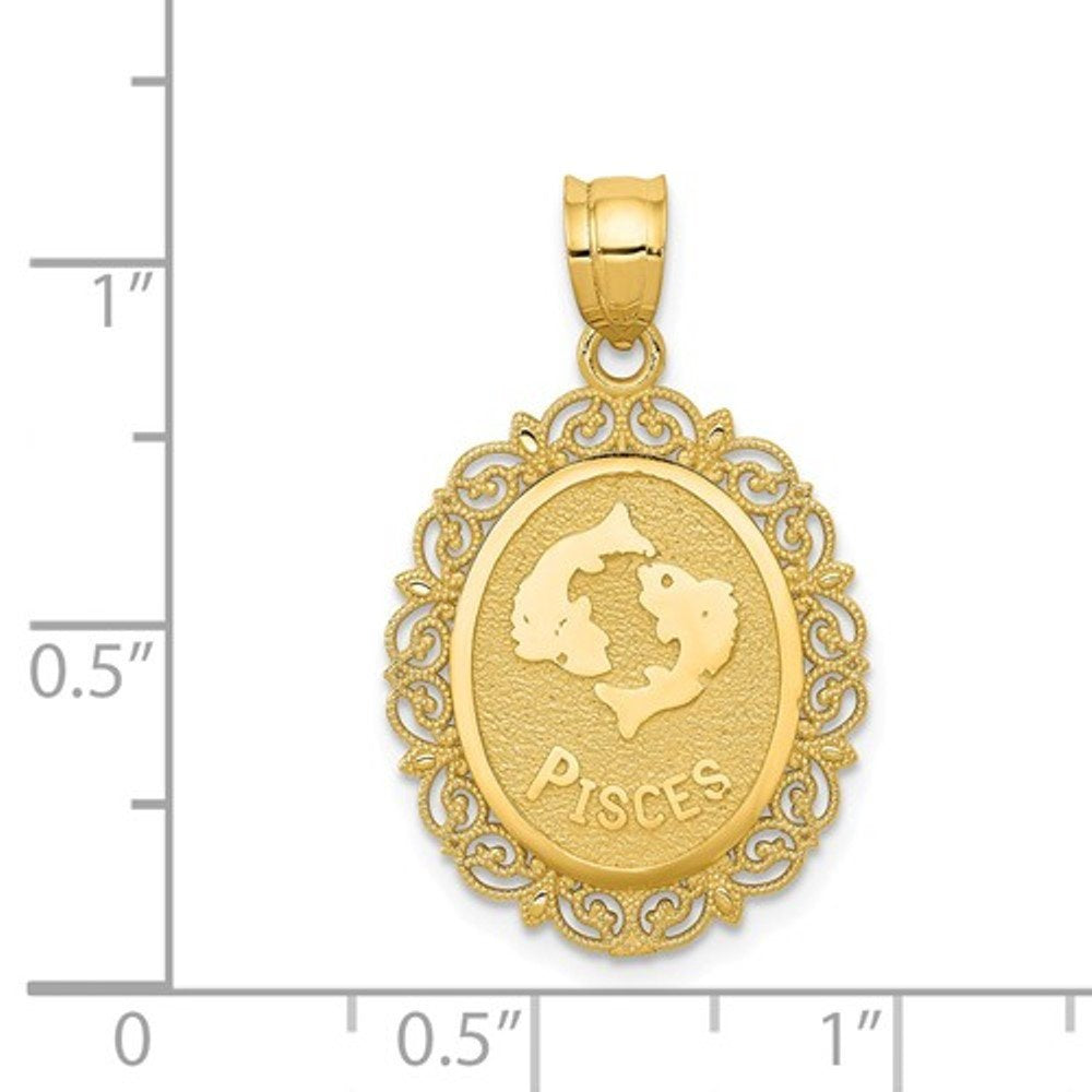 14k Yellow Gold Pisces Zodiac Horoscope Oval Pendant Charm