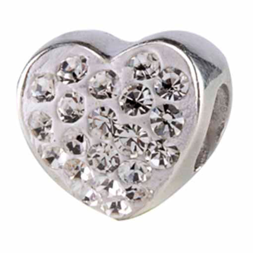 Authentic Silverado Heart Bling Clear CZ Sterling Silver Bead Charm