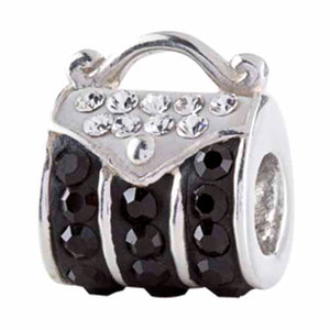 Authentic Silverado Black Handbag Purse Bling CZ Sterling Silver Bead Charm