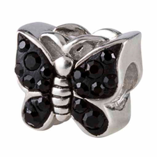 Authentic Silverado Black Butterfly Bling CZ Sterling Silver Bead Charm