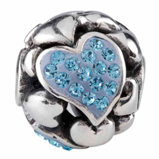 Authentic Silverado Large Sterling Silver Hearts Blue CZ Focal Bead Charm
