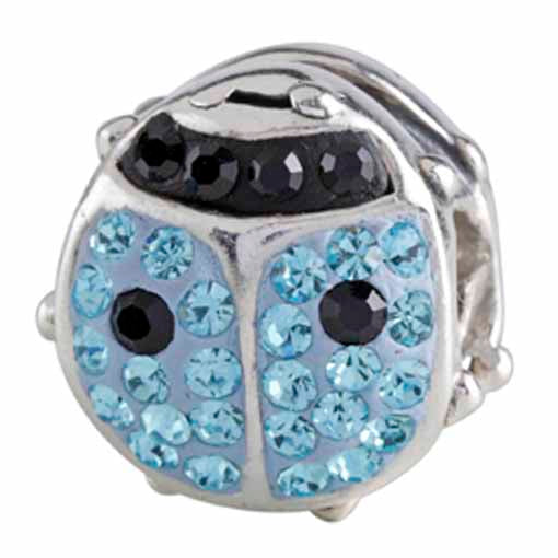 Authentic Silverado Blue Ladybug Bling CZ Sterling Silver Bead Charm